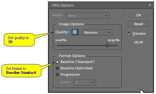 Elements JPEG Quality Dialog